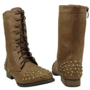 Boots - Brown studded combat boots