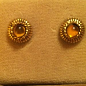 Vintage Costume Post Earrings Amber/Gold