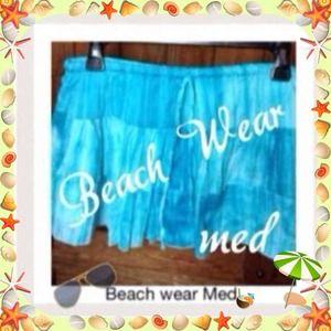 b2) Beach Wear skirt. Size Med. sky blue