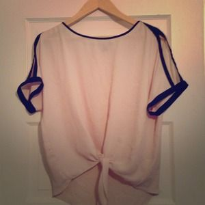 Cream polyester blouse with tie knot in front