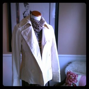 GAP Ivory White Corduroy Coat with Quilted Lining