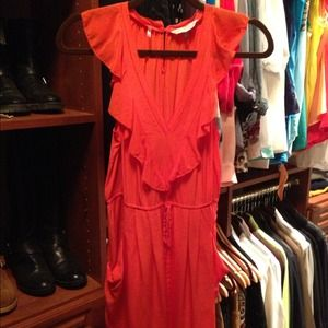 Rebecca Taylor Silk Tie Front Waist Dress Coral
