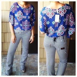 lush Tops - Blue Aztec Tribal Print Sheer Top