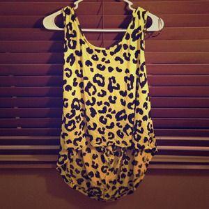 Yellow leopard print tank