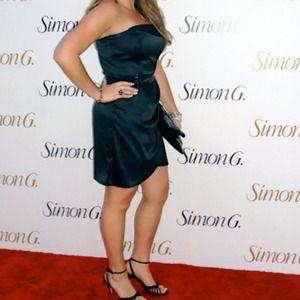 Gorgeous Black Satin Cache Cocktail Dress