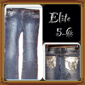 B1) Elite Jeans 5/6 Denim Blue Slim Denim