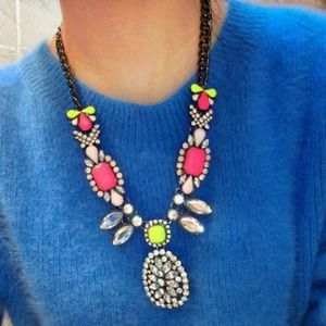 Neon yellow pink crystals black  necklace