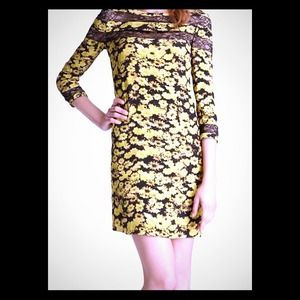 Erin Fetherston yellow and black floral dress 8