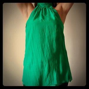Green Silky neckholder blouse