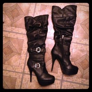 Black leather heal boots