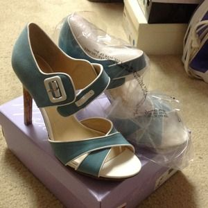 Marc Fisher Shoes - Sexy light blue fabric heels