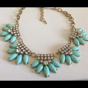 Turquoise mint crystals fan necklace HOST PICK 5/4