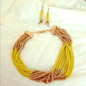 Gold/Neon Yellow Necklace and Earrings!