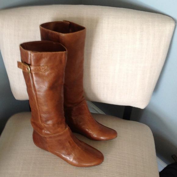 d7e634bf676 ALDO Shoes | Shehane Brown Leather Flat Riding Boots | Poshmark