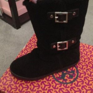 Tory burch boots with silver buckle on side