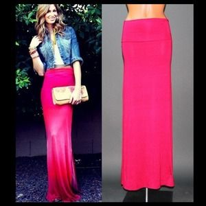 🎉HOST PICK🎉Magenta Fold Over Waist Maxi Skirt💕