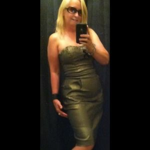 Cache' Stunning Gold Shimmer Stretchy Dress Size 4