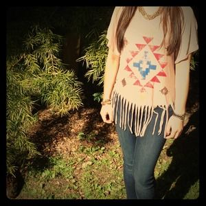 Tops - Super Soft Tribal Print Fringe Tee