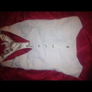 REDUCED Off white button down vest with stripes