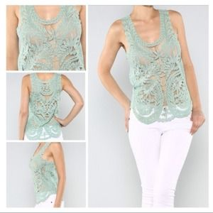 Tops - SOLD!! Teal Lace Crochet Tank
