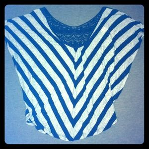Striped navy and grey top with lace back. Size S