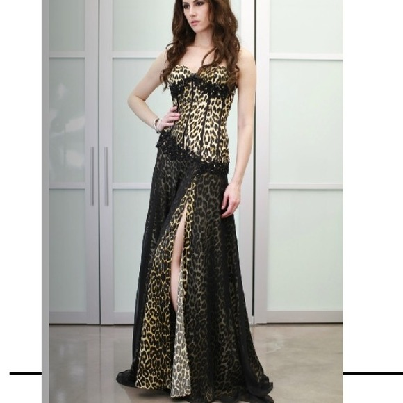 Saboroma Dresses | Designer Long Evening Gown Leopard Print Size 6 ...