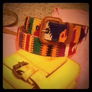 Neon Navajo Leather and Woven Belt