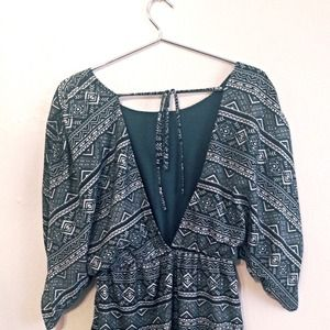 Turquoise Patterned Open Back Dress