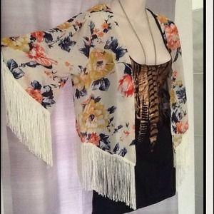 Floral kimono jacket with fringe