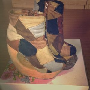 Jeffrey Campbell Rock Patch in Tan Suede Combo
