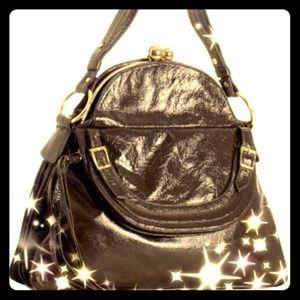 Bulga Silver Leather 'Garcon' Large Shoulder Bag