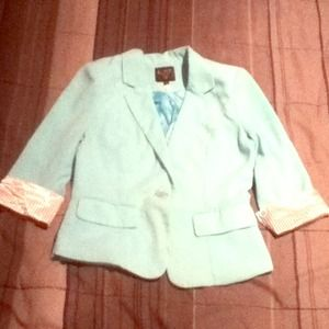 Teal blazer stripped white and black cuff