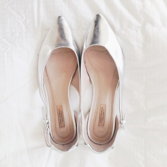 Zara Shoes - reserved for @bellalopez - Zara Silver Flats