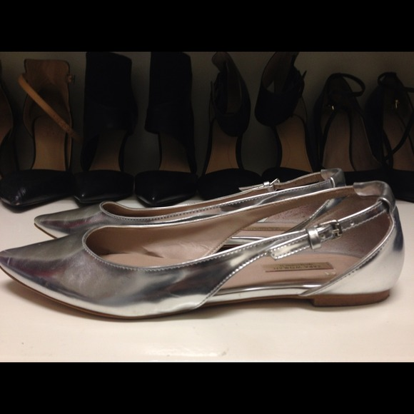 Zara Shoes - reserved for @bellalopez - Zara Silver Flats 3