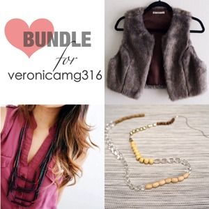 Fur Vest & Two Necklaces