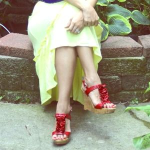 Baker's  Shoes - Red Bakers Ruffled Wedges