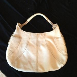 Cream leather hobo bag with contrast stitch
