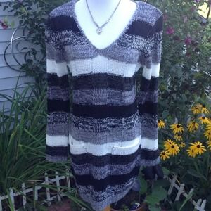 Ultra Flirt Dresses - Black/Gray/ivory Multi Sweater Dress 1