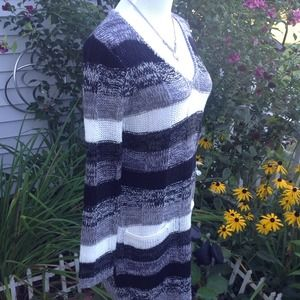 Ultra Flirt Dresses - Black/Gray/ivory Multi Sweater Dress 3