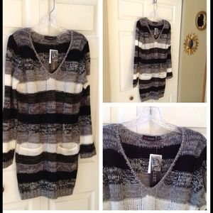 Ultra Flirt Dresses - Black/Gray/ivory Multi Sweater Dress