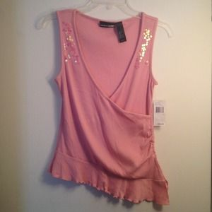 DKNY Tops - DKNY: Pink Sleeveless sequence with ruffled hem.