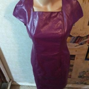 Purple faux leather dress