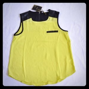 Intro Neon Top with Leather Trim
