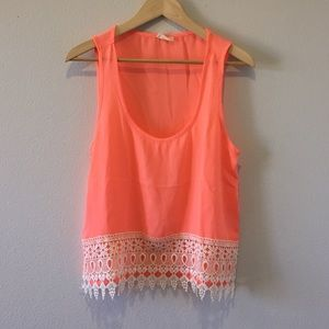 New Cropped tank with crochet trim **HOST PICK!**