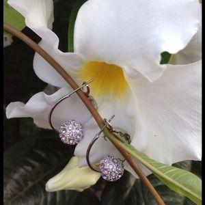 Jewelry - 🎉HOST PICK🎉 Lavender Crystal Ball Hoop Earrings