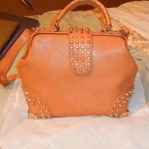 Pink Cosmo Handbags - Vegan Leather Doctor Bag with Studs