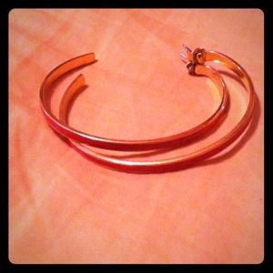 Red and Gold Banana Republic Hoop Earrings
