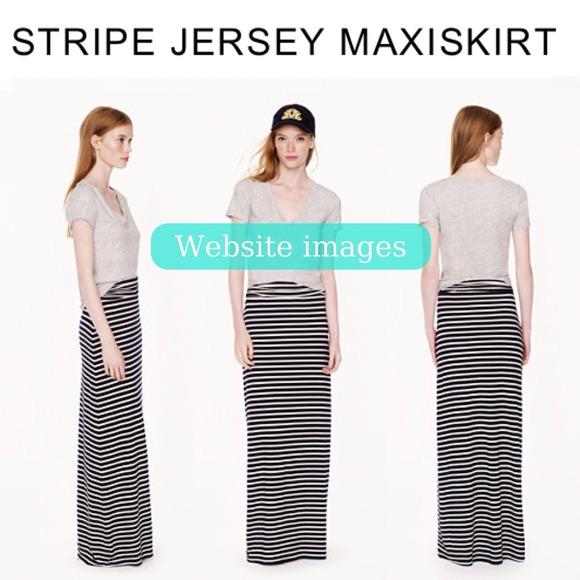 79% off J. Crew Dresses & Skirts - Navy Stripe Jersey Maxi Skirt ...