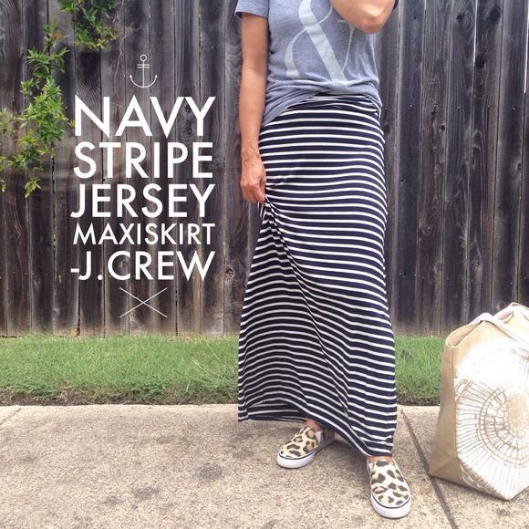 7af7983837 J. Crew Dresses & Skirts - Navy Stripe Jersey Maxi Skirt by J.Crew