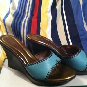 FIONI Wedges turquoise cute